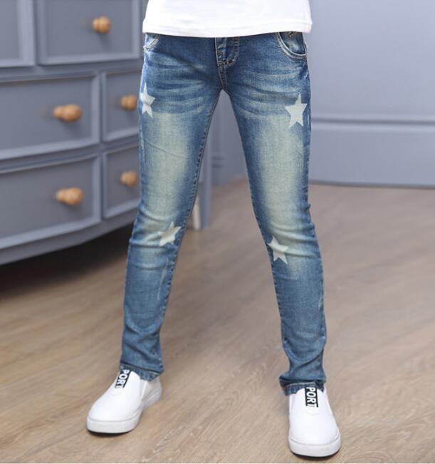girl's elastic feet pants jeans