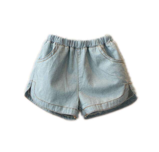 2017 summer girls' blue denim shorts