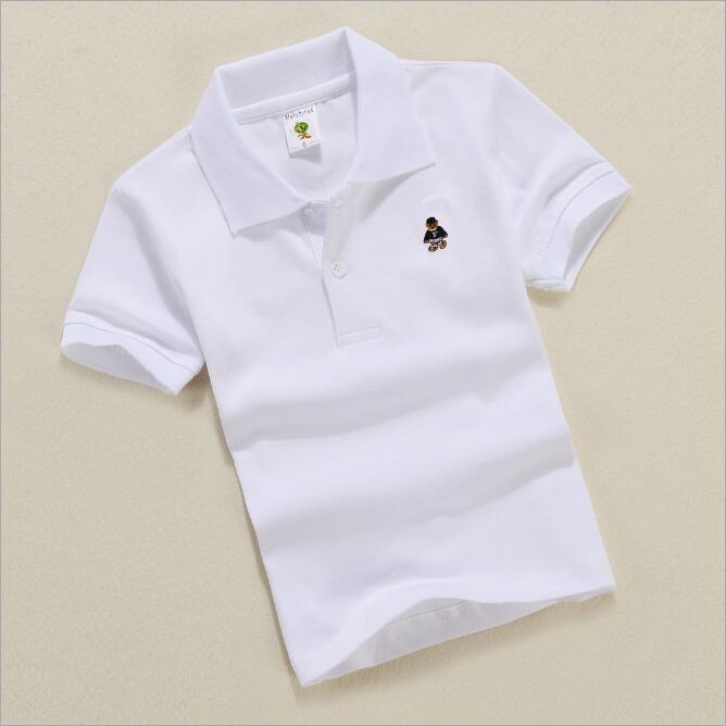 Summer boy solid color bear short sleeve POLO shirt