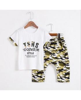 New 2017 summer boys short sets short sleeves t shirt and camouflage shorts