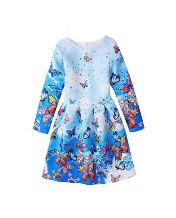 2017 New girls' retro butterfly printed dress