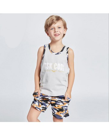 2017 Summer boys new camouflage short sets sleeveless vest and camouflage shorts