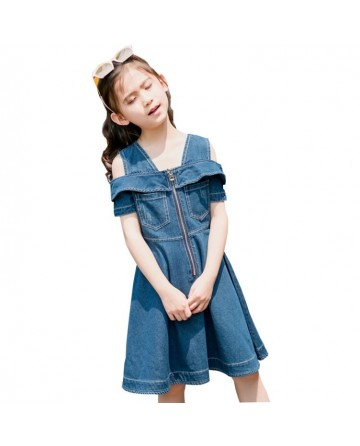 2017 Summer girls' zipper denim dress