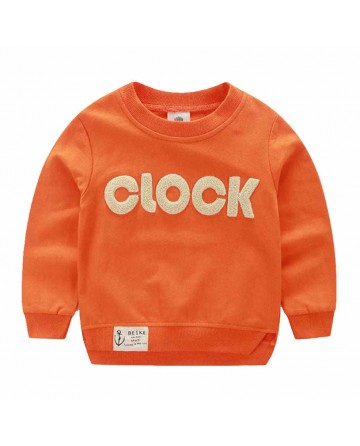 2017 Spring boy's CLOCK letter patch round neck  sweater