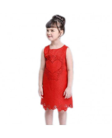 2017 summer girls hollow princess dress red straight skirt