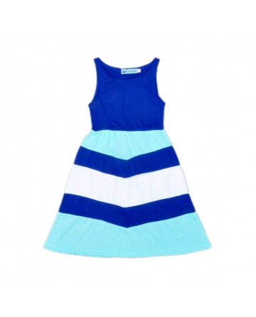 2017 Summer girls striped vest dress blue&white striped stitching dress