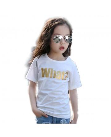 Girls summer round neck short sleeve t-shirt 'What ?' print