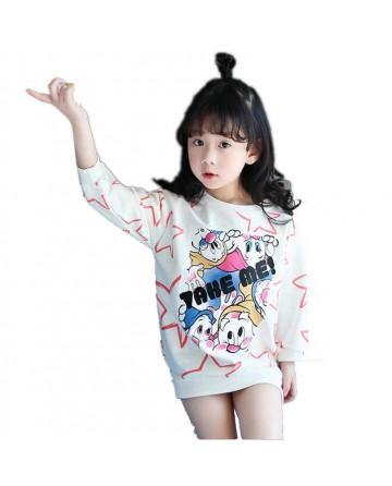 Girl star cartoon dwarf alphabet printing long paragraph sweater