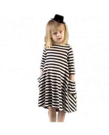 Girl's long-sleeved black&white striped dress