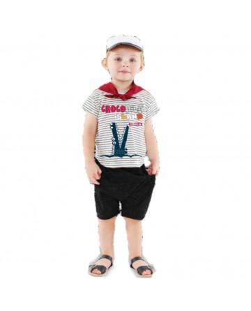 Boy's cartoon stripes t-shirt