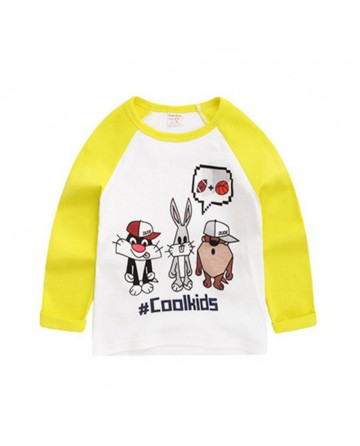 2017 Spring t shirt,boys cartoon animals printed long sleeve t shirt.