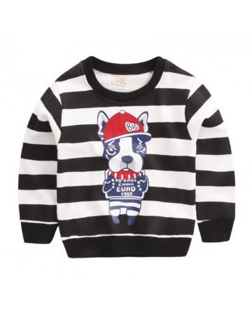 2017 New spring boys cartoon Dog pattern sweater.black&white striped sweater.