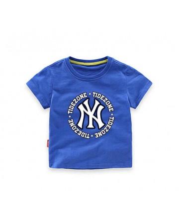 Boy's cartoon letter blue short-sleeved t-shirt
