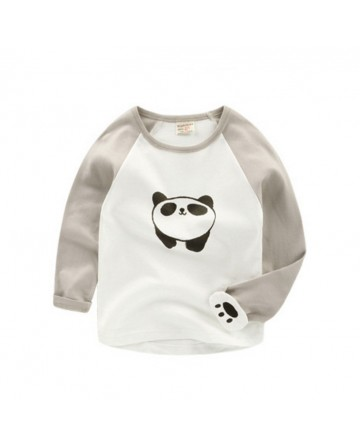 2017 Spring new kids clothing boys cartoon panda stitching long-sleeves t shirts