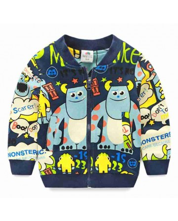 2017 Spring boys' cartoon print warm jacket,stand up collar zipper coat.