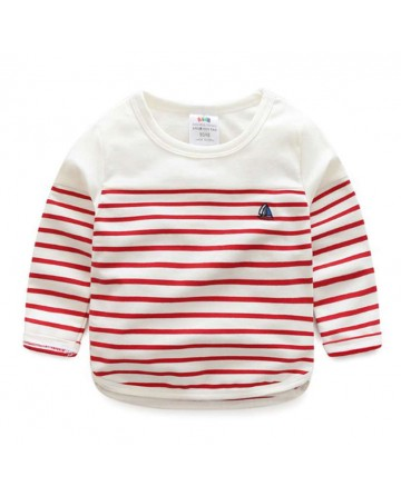 2017 Spring kids striped long-sleeves t-shirt