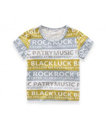 Boy's striped letter print short-sleeved t-shirt