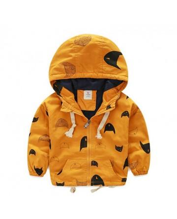 2017 Spring boys'  zipper hooded windbreaker,fashion printed jacket.
