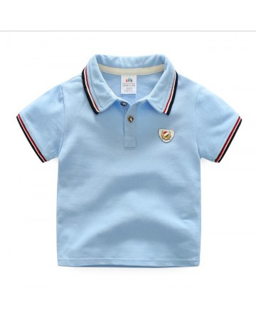 Boy's sky blue short sleeve polo t-shirt