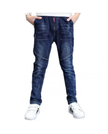Boy's simple section elastic slim jeans