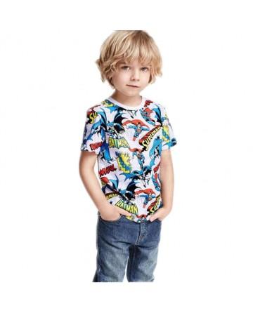 Boy's SUPERMAN Printed Cotton Short Sleeve T-Shirt