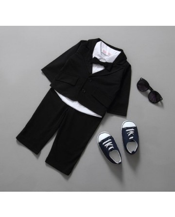 2017 spring boys long sleeves suit 3 sets white tie shirt black jacket and trousers
