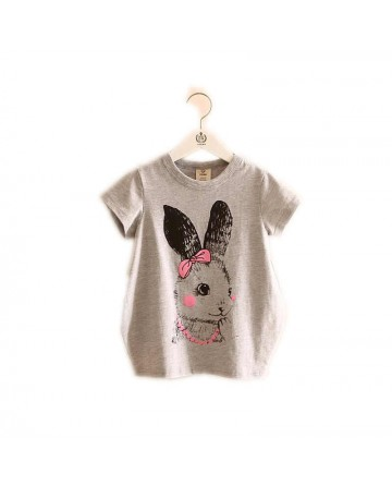 Cartoon rabbit girl long section short sleeve t-shirt