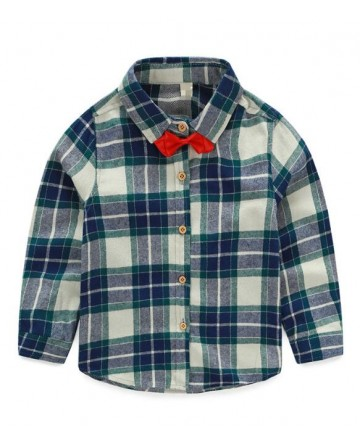 boys bow tie plaid long sleeve shirt