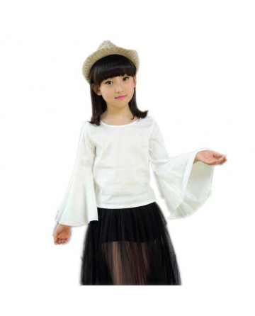 Girl's trumpet sleeves cotton white casual t-shirt