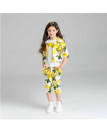 2017 Summer girls lemon jacquard short sets