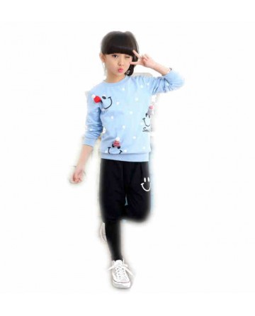 Girl cartoon sweater and harem pants two sets