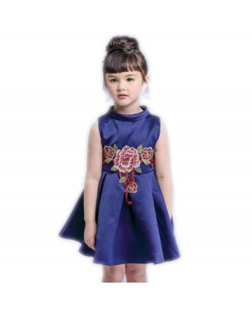 Girl high quality embroidered blue dress