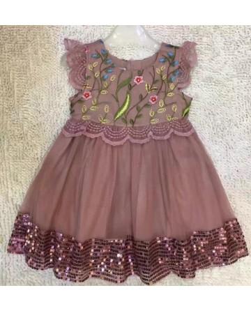 girl's embroidered gauze dress