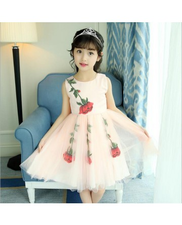 Girls embroidery rose dress