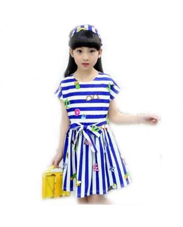 Girls fashion stripes small print dress