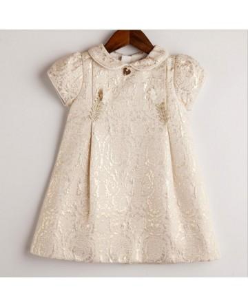 Girl's gold thread jacquard dress