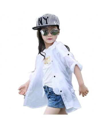 girl's hooded shoulder long sleeve sunscreen jacket
