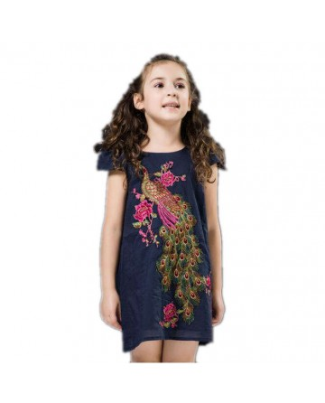 girl's peacock embroidered dress
