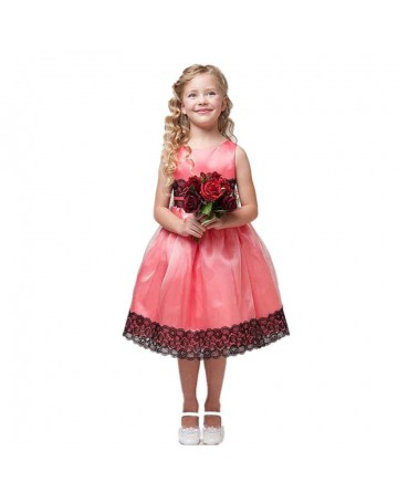 Girl's sleeveless three-dimensional rose yarn dress