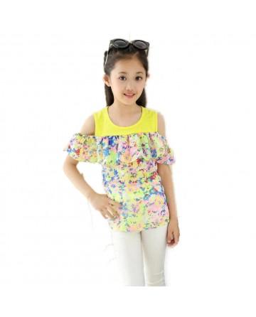 Summer girl's strapless short sleeve T-shirt