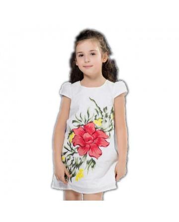 Girl's white flower embroidered dress