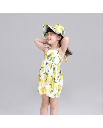 girls  lemon print braces skirt,send a hat