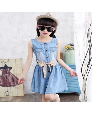 New 2017 summer girls denim dress, blue jumper dress.