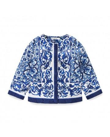 2017 New girls' blue retro printed jacket