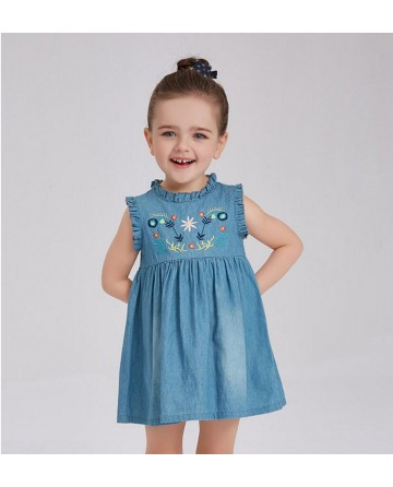 2017 New girls' embroidered thin denim dress
