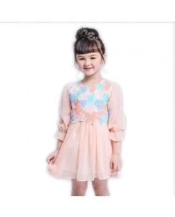 Spring girls long sleeves dress