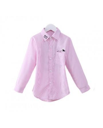 Girls lapel cotton solid color graphic shirt