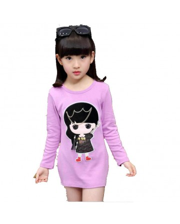 Girl's small chain cartoon pacth long sleeves graphic shirt