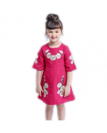Girls red embroidery dress