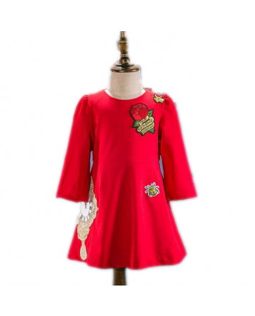 Girls red embroidery rose dress
